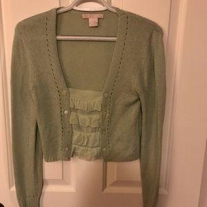 SM Rebecca Taylor Mint Crop Sweater Lg Sleeve